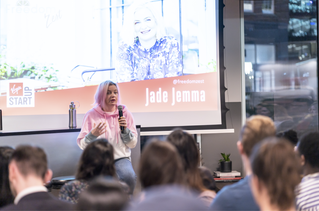 Business Coach Jade Jemma talking at Virgin Startup London