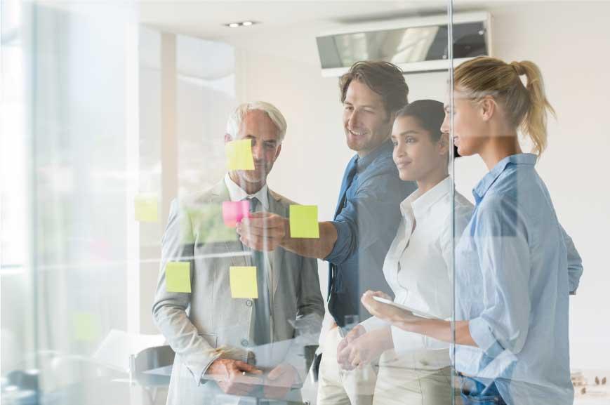 Business leaders having a team meeting